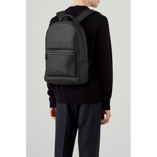 Oroton Preston Backpack in Black and Pebble Leather for male