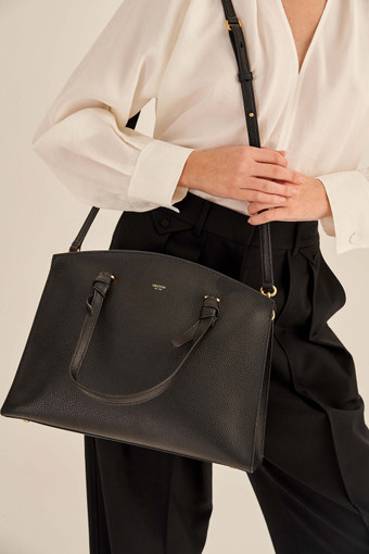 Oroton Atlas Day Bag in Black and Pebble Leather for female