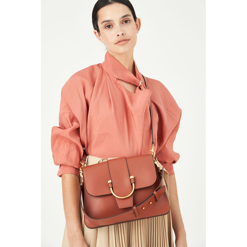 Oroton Solo Medium Satchel in Light Rust and Nappa Leather for female