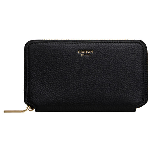 Oroton Duo Mini Book Wallet in Black and Pebble Leather for female