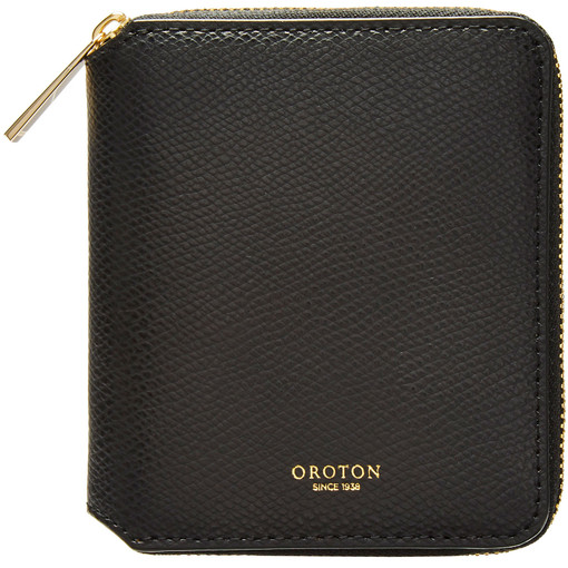 Oroton Muse Small Zip Wallet in Black and Two Tone Saffiano Leather / for female