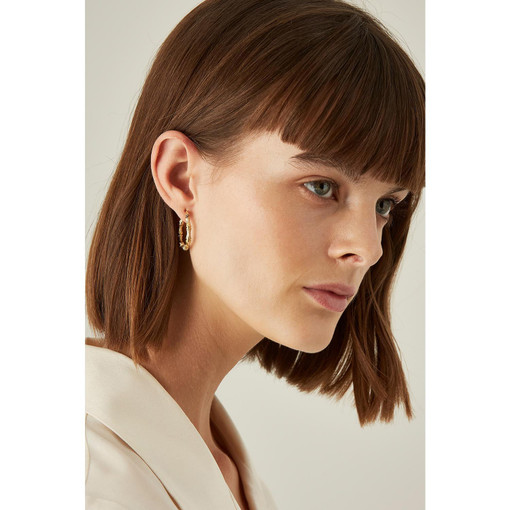 Oroton Bamboo Small Oval Hoops in Gold and Brass Base With Precious Metal Plating for female