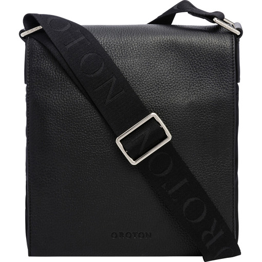 Oroton Finn Nylon Companion in Black and Nylon and pebble grain leather for male