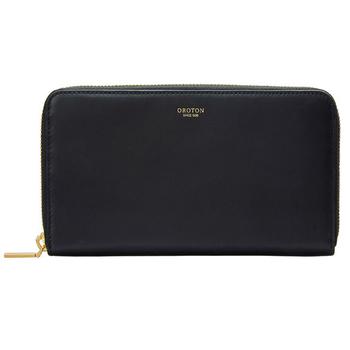 Oroton Venture Large Multi Pocket Zip Wallet in Black and Smooth Leather for female