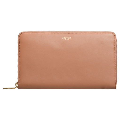 Oroton Venture Large Multi Pocket Zip Wallet in Almond and Nappa Leather for female