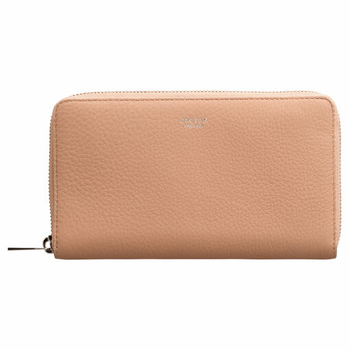 Oroton Memento Zip Book Wallet in Biscuit and Pebble Leather for female