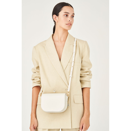 Oroton Muse Crossbody in Cream and Saffiano Leather/Smooth Leather for female