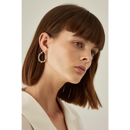 Oroton Bamboo Medium Oval Hoops in Gold and Brass Base With Precious Metal Plating for female