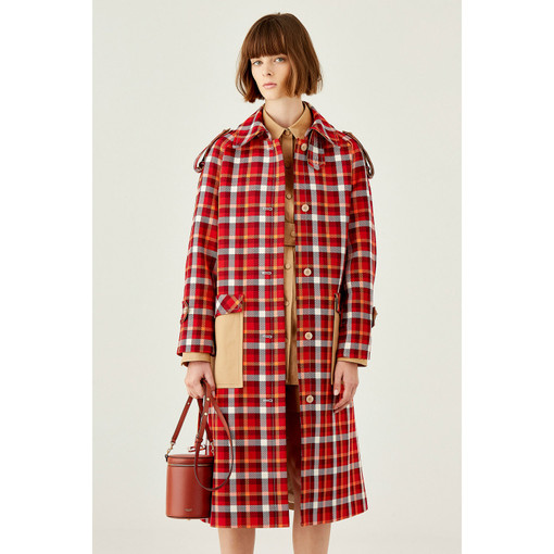 Oroton Multi Check With Contrast Solid Drill Trench Coat in Rouge and Main: 67% Polyester 33% Cotton. Contrast: 100% Cotton. for female