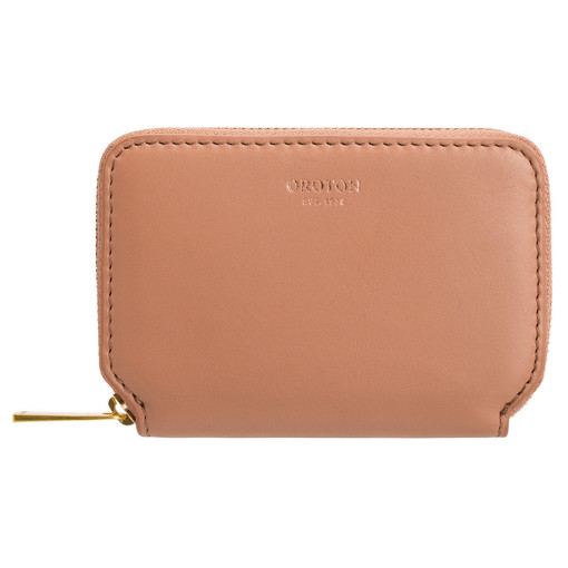 Oroton Solo Mini Zip Wallet in Almond and Smooth Leather for female
