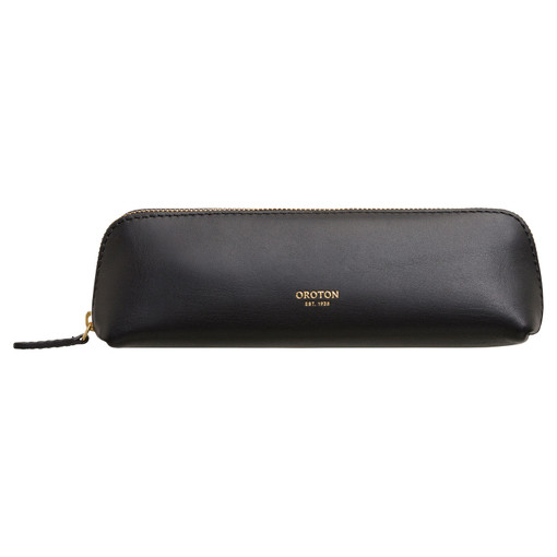Oroton Venture Pencil Case in Black and Smooth Leather for female