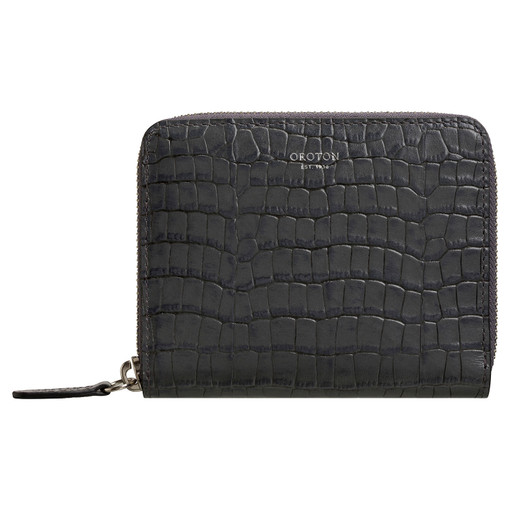 Oroton Forte Medium Multi Pocket Zip Around Wallet in Charcoal and Croco Emboss Leather for female