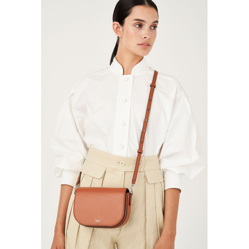 Oroton Muse Crossbody in Cognac and Saffiano Leather/Smooth Leather for female