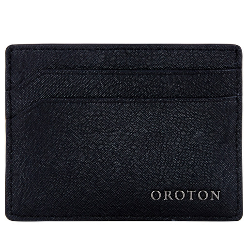 Oroton Bristol Credit Card Sleeve in Black and Saffiano Leather for male