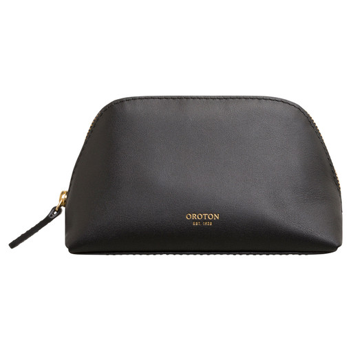 Oroton Venture Small Beauty Case in Black and Smooth Leather for female