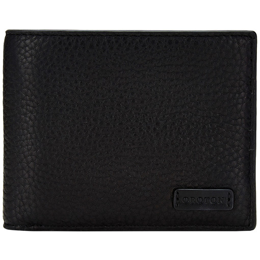 Oroton Preston 8 Credit Card Wallet in Black and Pebble Leather for male