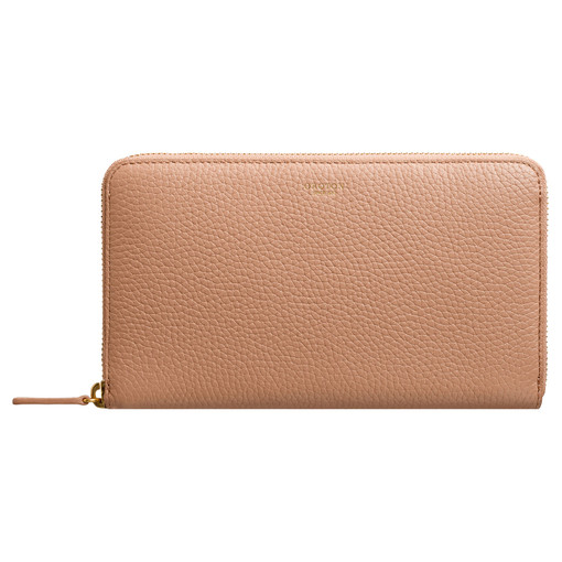 Oroton Avalon Large Zip Around Wallet in Biscuit and Pebble Leather for female