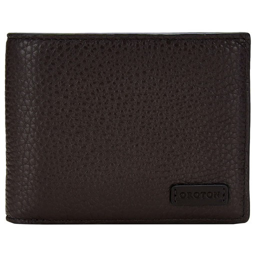 Oroton Preston 8 Credit Card Wallet in Chocolate and Pebble Leather for male