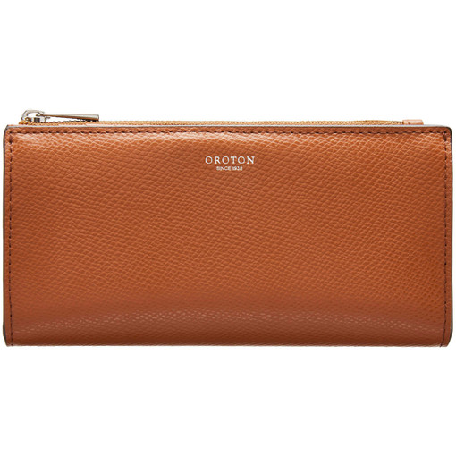 Oroton Muse Slim Zip Wallet in Cognac and Two Tone Saffiano/Split Leather for female