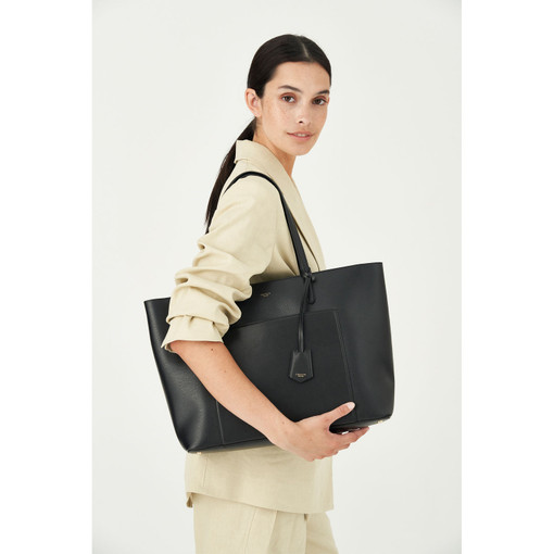 Oroton Muse Shopper Tote in Black and Two Tone Saffiano Leather / for female