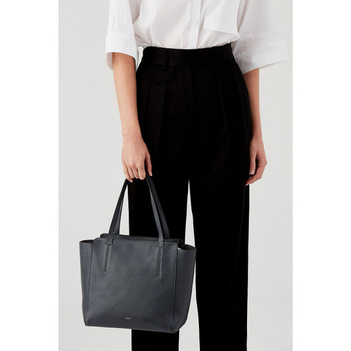 Oroton Avalon Mini Tote in Charcoal and Pebble Leather for female