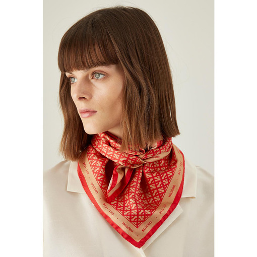 Oroton All Over Logo Scarf in Camel/Rouge and 100% Silk for female