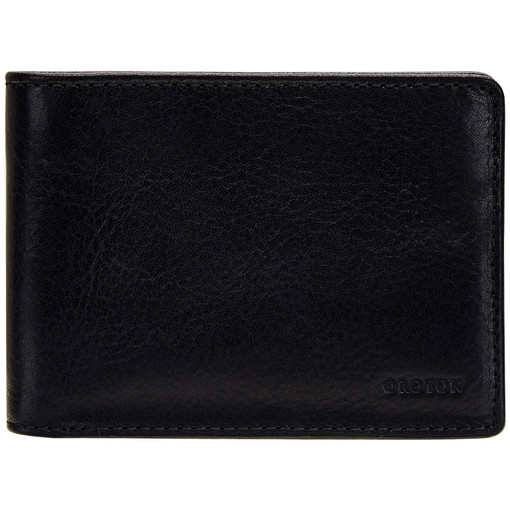 Oroton Katoomba 4 Credit Card Mini Wallet in Black and Vegetable Tanned Leather for male