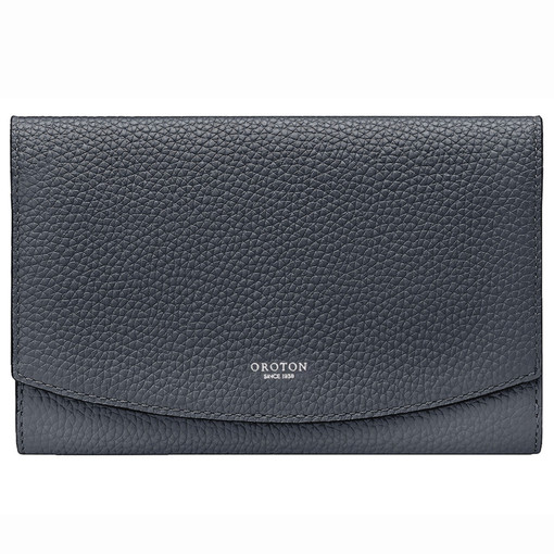 Oroton Atlas Soft Fold Zip Wallet in Charcoal and Pebble Leather for female