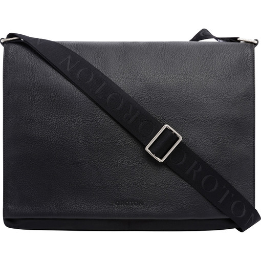 Oroton Finn Nylon Ew Satchel in Black and Nylon and pebble grain leather for male