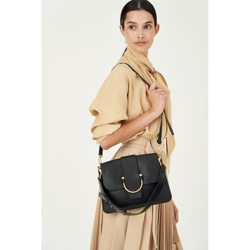 Oroton Solo Medium Satchel in Black and Nappa Leather for female