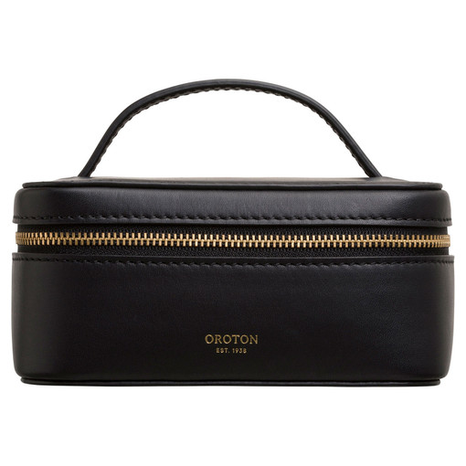 Oroton Venture Jewellery Travel Case in Black and Smooth Leather for female