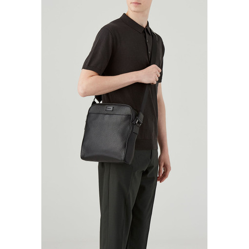 Oroton Preston Zip Around A5 Satchel in Black and Pebble Leather for male