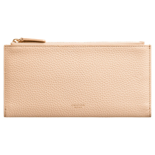 Oroton Avalon Double Zip Wallet in Peach and Pebble Leather for female