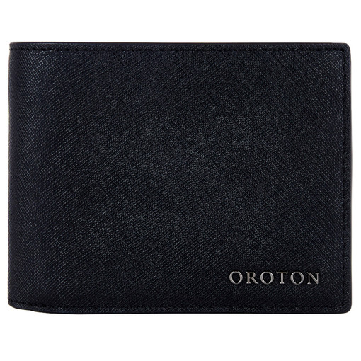 Oroton Bristol 12 Credit Card Wallet in Black and Saffiano Leather for male