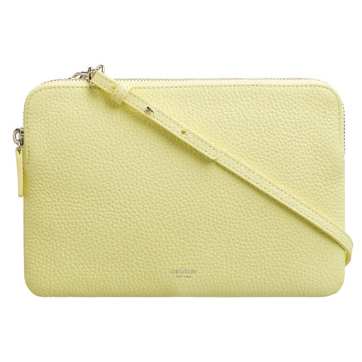 Oroton Avalon Large Double Clutch in Lemon and Pebble Leather for female