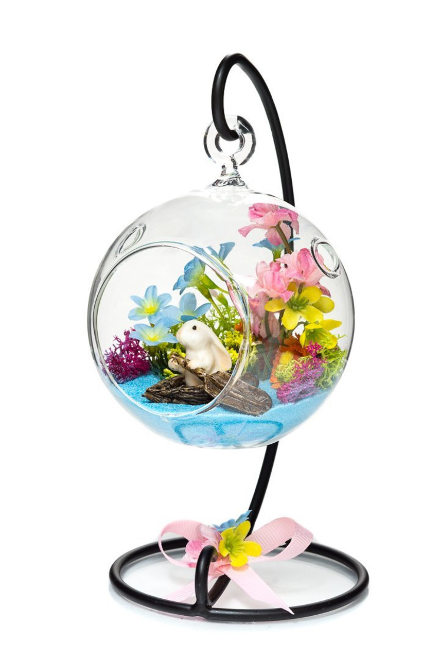 Diy Gift Set 4 Standing Glass Globe Terrarium Container With Stand