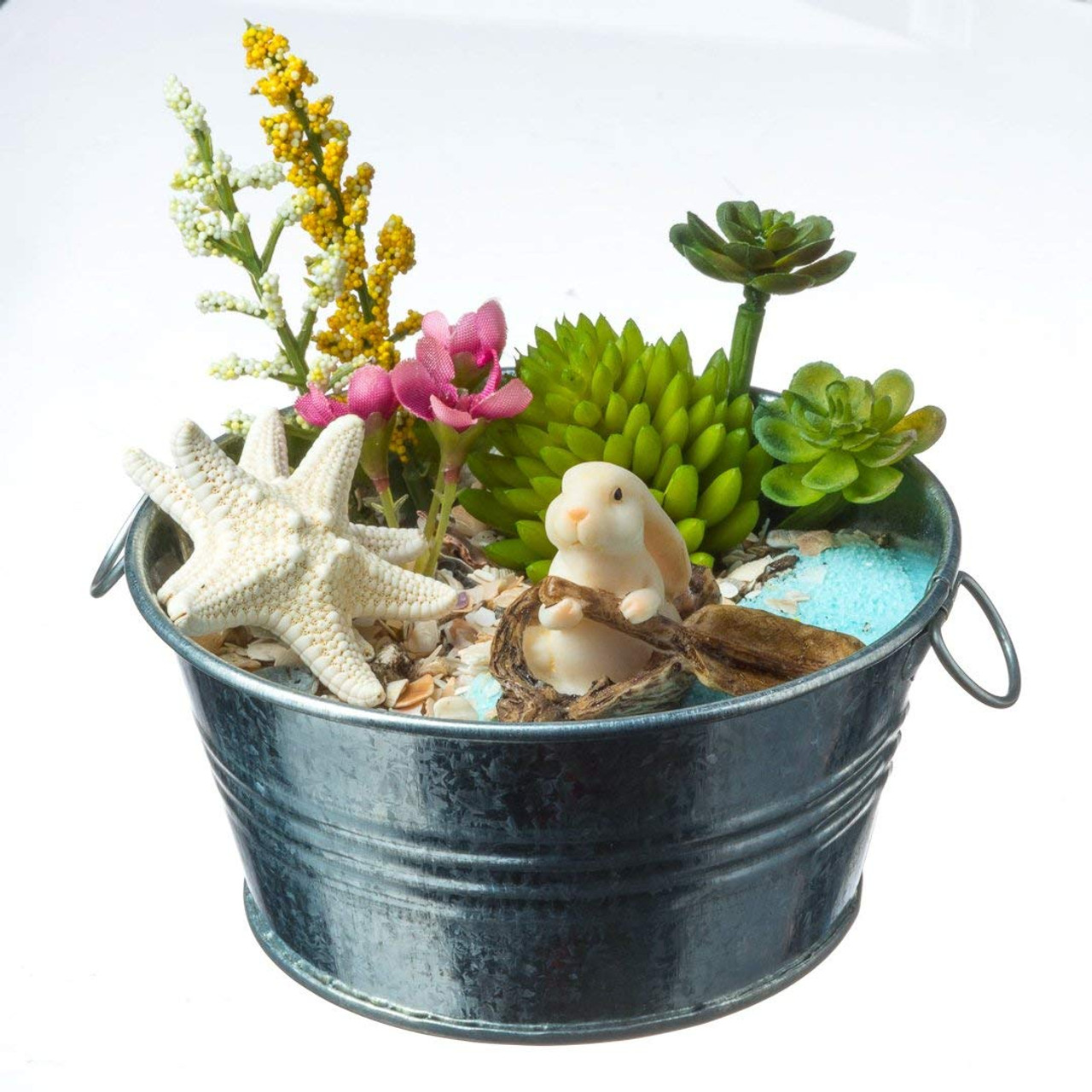 Diy Gift Set 4 Silver Galvanized Pot With Faux Succulent Castaway