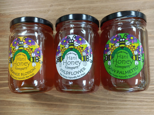 All honey stocked at Two Olive Trees is locally made by Hani Honey.  The products are sold in glass jars only.  We carry the 1# jars . We currently are stocking Saw Palmetto, Orange Blossom and Wildflower. CURRENTLY IN STORE PICKUP ONLY