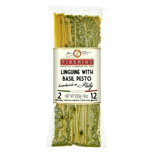 Linguini with basil pesto sauce is a traditional recipe from the city of Genova in the north-west of Italy but is today very appreciated everywhere in Italy and in the world.  Thanks to basil and whole pine-nuts, Linguini al pesto is a fresh tasty dish, you will have just to add grated cheese and olive oil.
