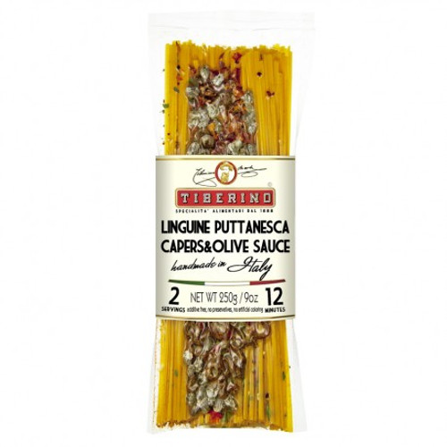 Linguini Puttanesca is a very appreciated pasta dish in Italy. It is commonly prepared with olives, tomato and hot chili pepper. This is a tasty, slightly spicy recipe from Italian tradition recommended for strong taste lovers.