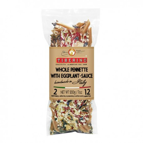 Whole grain Penne seasoned with tomato-eggplant sauce:  a great recipe for all gourmets! The mix of light sauteed vegetables, ripe tomatoes and thick cut eggplant has an intense, enveloping taste. Try our Whole grain spaghetti as an alternative to classic spaghetti and taste a delicious thicker pasta !