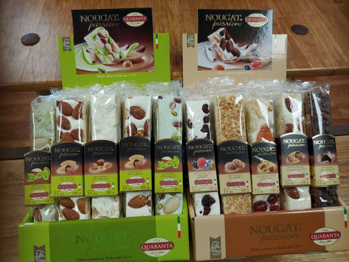 Italian soft nougats made with natural ingredients.  Various flavor selections include: hazelnuts, pistachios, forest fruits, exotic fruits, chocolate, almonds, and amaretti.