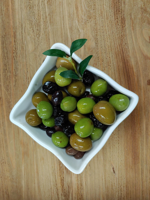 Various flavors of refrigerated olives:  Sicilian; Castelvaltrano (Sicily); Kalamata, Oil Cured and Gaeta.  We also have a Mediterranean Mix.  These olives are in brine, not oil.