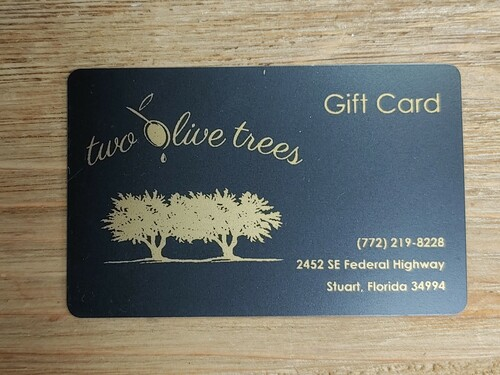 GIFT CARDS AVAILABLE $5-$250.  PLEASE CALL THE STORE FOR INFORMATION 772-219-8228  MON-SAT 10-6