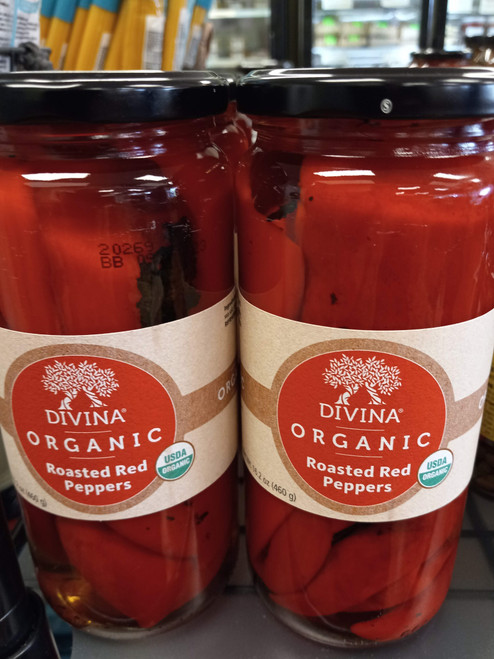 Divina ORGANIC fire roasted red peppers; grown and harvested organically. Incredibly meaty and sweet. Layer into lasagna or pair with goat cheese.  Organic peppers, water, sea salt, citric acid.  Product of Turkey.