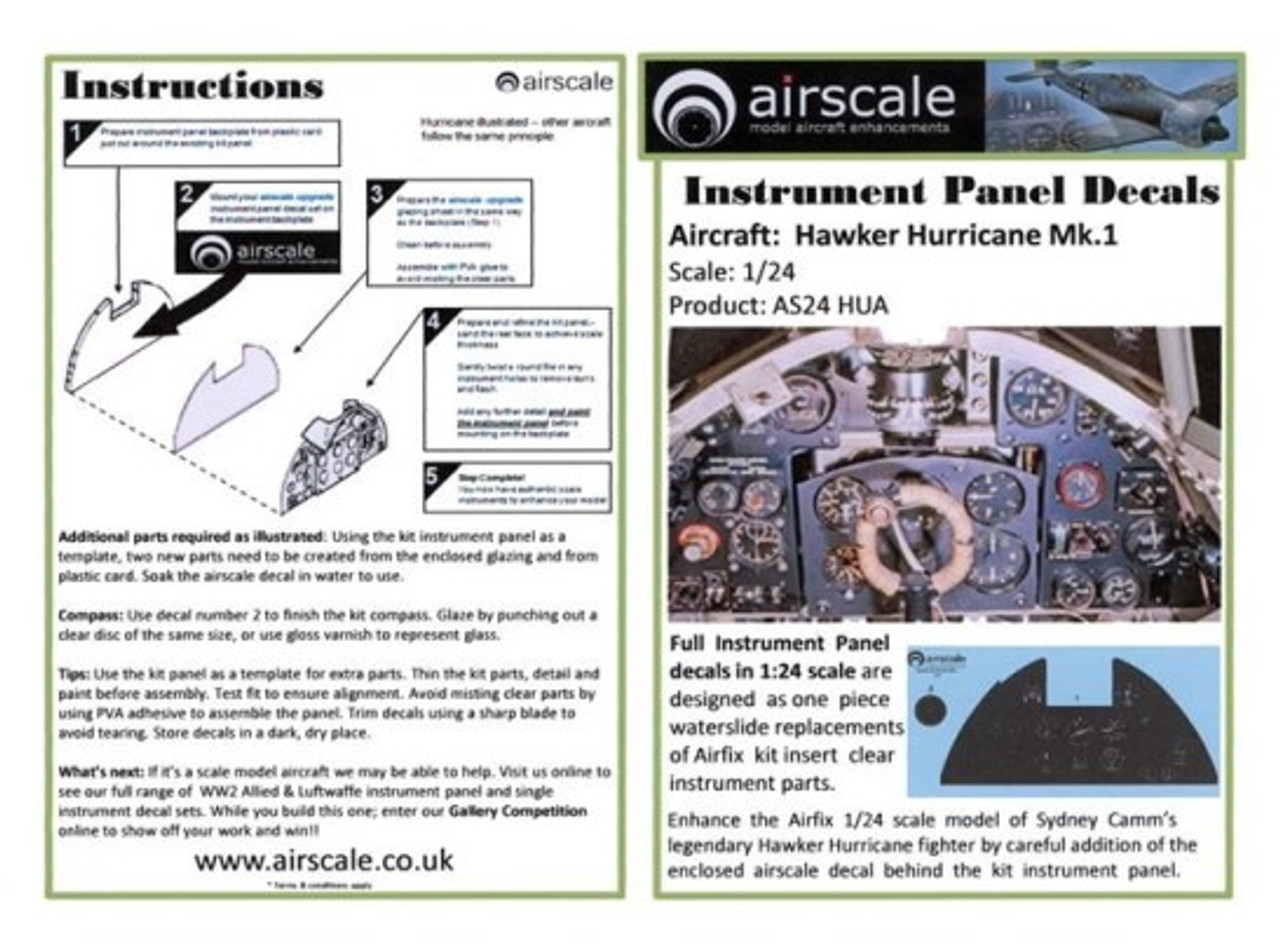 Hawker Hurricane Mk I Instrument Panel (Decal) 1/24 Airscale Model Aircraft  Enhancements