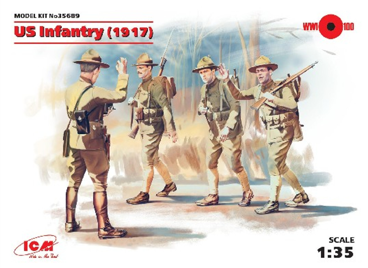 British Infantry In Gas Masks 1:35 Plastic Model Kit ICM 1917 4 Figures