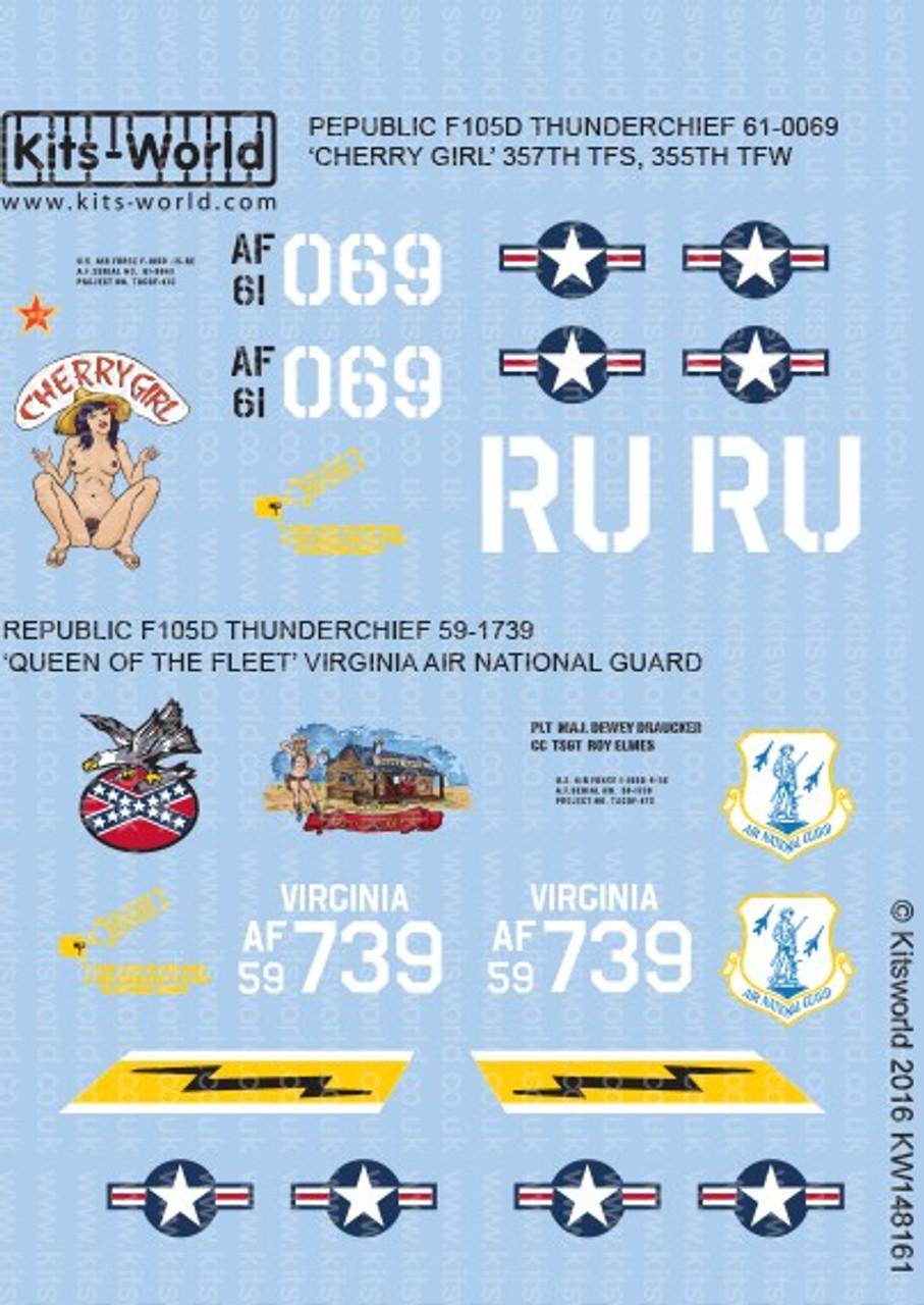 Kits World Decals 1//48 REPUBLIC F-105D THUNDERCHIEF Cherry Girl /& Queen of Fleet
