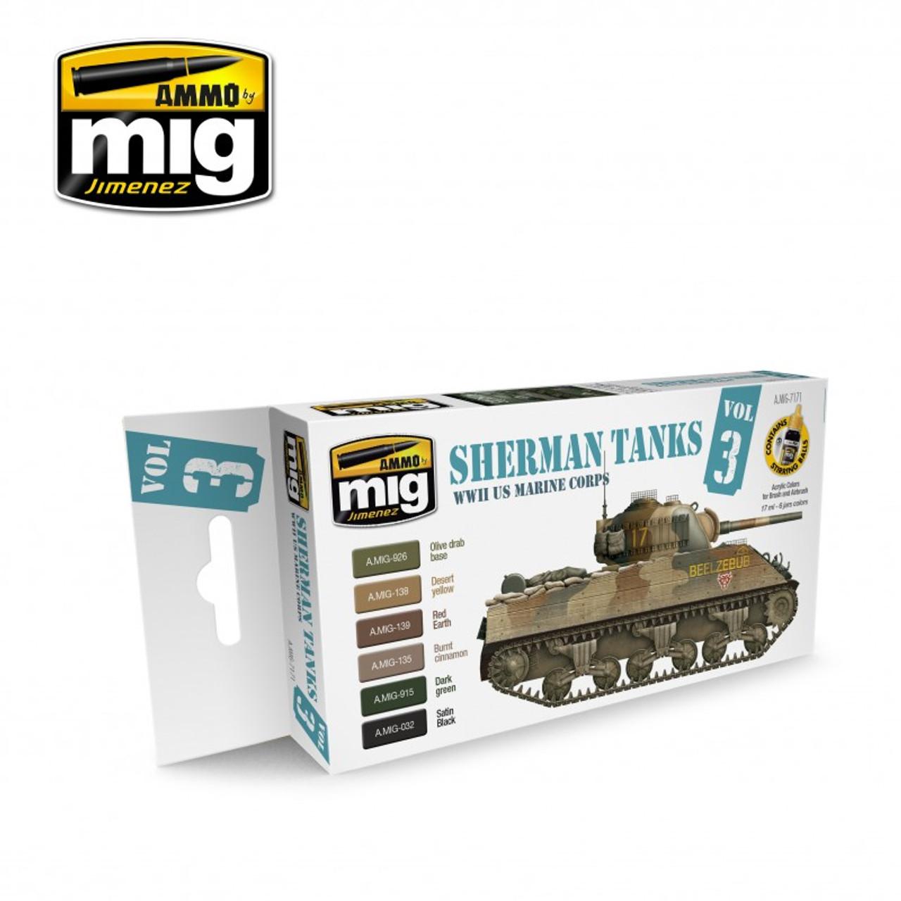 WWII US Marine Corps Sherman Tanks Acrylic Paint Set (6 colors) AMMO of Mig  Jimenez