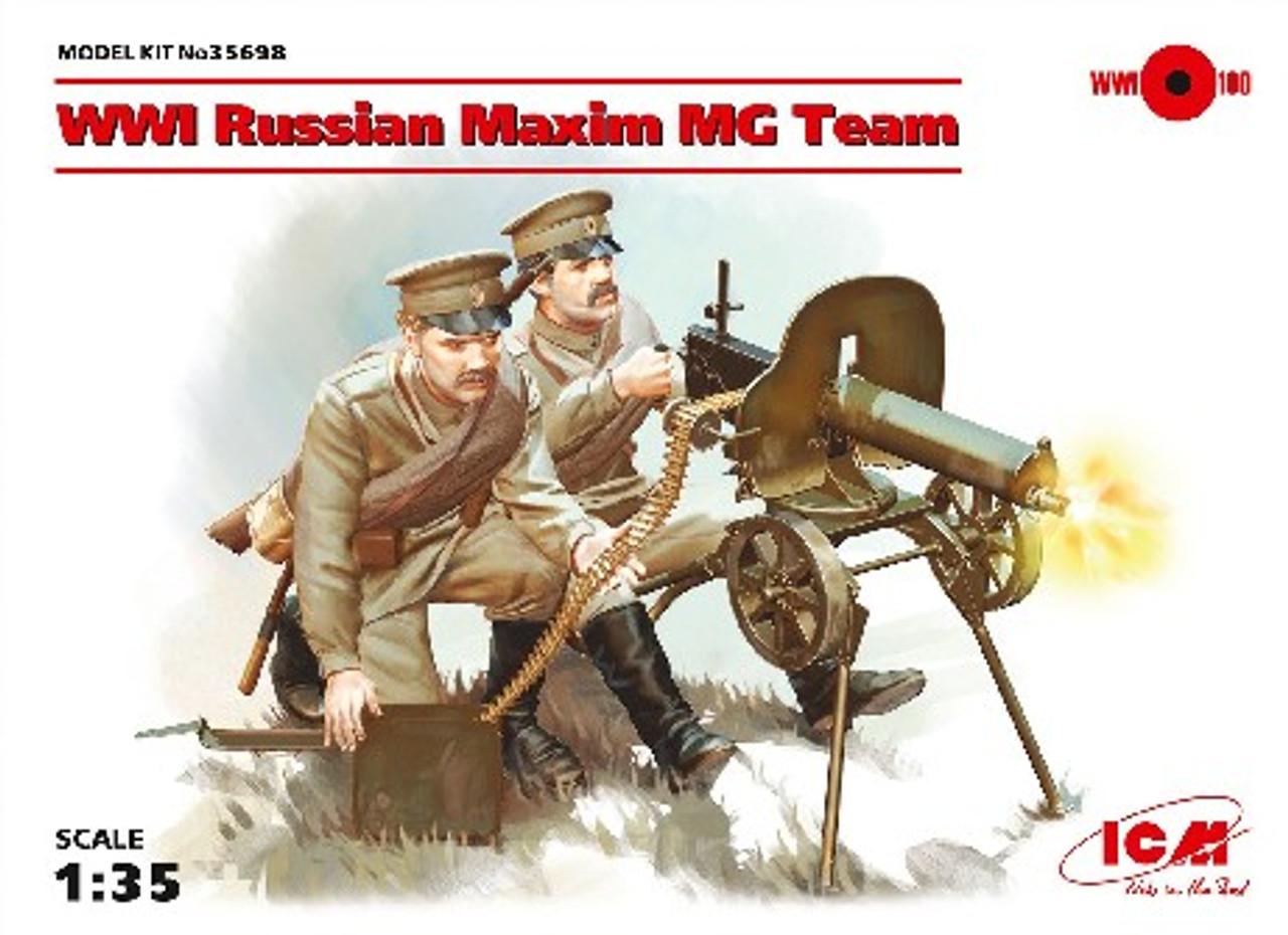 WWI Russian Maxim MG Team (2) w/MG, Weapons & Equipment 1/35 ICM Models